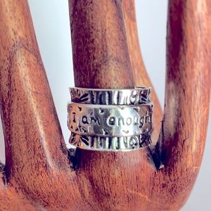 - I Am Enough silver coloured ring  - size 8